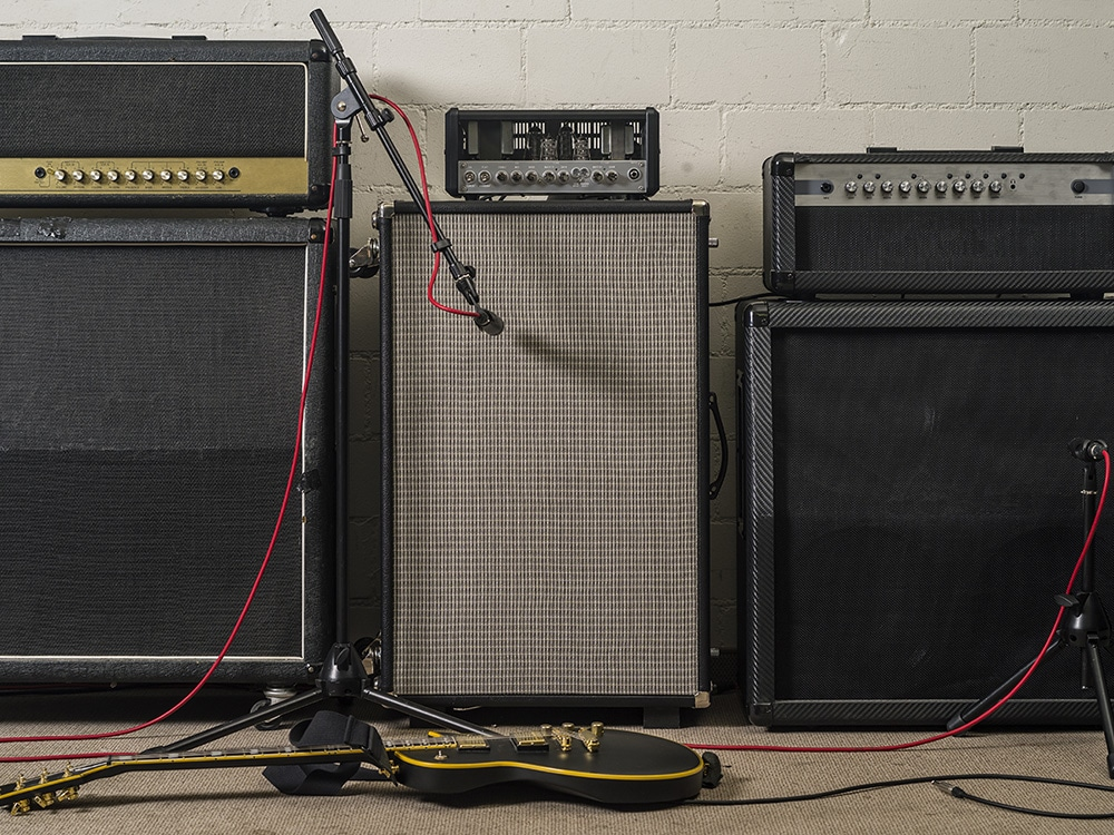 Amps with Mic stands and trailing wire